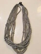 Lovely 'shell-like'' beaded necklace and matching bracelet - GREY