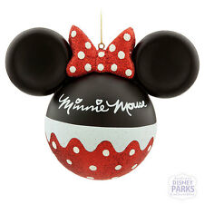 Disney Parks Glass Minnie Mouse Signature Icon Christmas Ornament Holiday