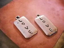 10 Word Charms LOVE Pendants Antiqued Silver Rectangle Rustic Findings