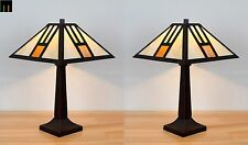 Pair-Tiffany White Mission Style Stained Glass Table Lamps Light Leadlight Decor