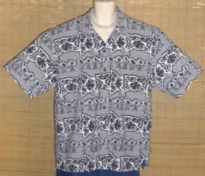 Ocean Pacific Hawaiian Shirt Blue floral White XL