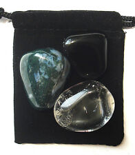 CAPRICORN ZODIAC / ASTROLOGICAL Tumbled Crystal Healing Set =3 Stones+Pouch+Card
