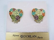 Swarovski Crystals and Sandstones 0912 D'Orlan Gold Plated Pierced Earrings with
