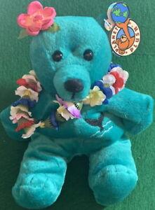 "PLANET PLUSH ""LEILANI"" Hawaiian Bear by Sally Winey LE 36000 Bean Bag New + COA"
