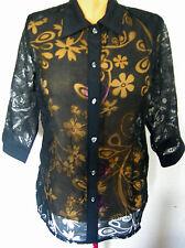 Ladies Womens 3/4 Sleeve Black Floral Shear Shirt Top Fashions U Love Size 10