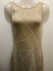 St John Gold-Silver Santana Knit Spiderweb Sequin Trim Long Couture Dress Size 2