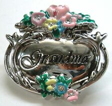 Plate Great Mother's Day Gift New Grandmother Grandma Signed Brooch Pin Silver