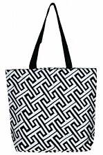 Greek Key Pattern Shoulder Bag Beach Bag Tote (Black and White Greek Key)