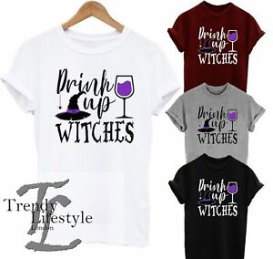 HALLOWEEN DRINK UP WITCHES GHOST FUNNY SCARY TRENDY WOMENS KIDS UNISEX T-SHIRT