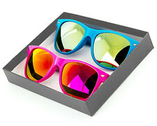 Neon Classic Sunglasses Pink & Blue Color Mirror Lens Gift Box party favor