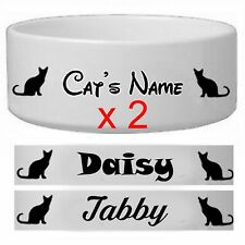 Custom Personalized Pet  Name Cat Food Dog Water Bowl Dish  Design Sticker x 2