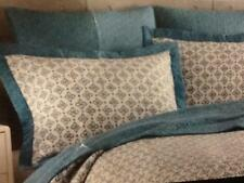 2 Cynthia Rowley Turquoise Medallion Thick Border White Standard Quilt Shams New
