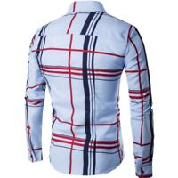Men Stylish Casual Grid Shirts Slim Fit Long Sleeve Stylish Dress Shirts Tops a