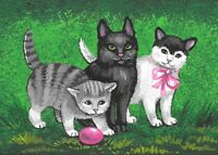 ACEO PRINT OF PAINTING RYTA EASTER BLACK CAT SPRING FLOWERS GARDEN VINTAGE STYLE