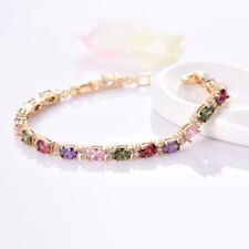 Colorful Topaz Crystal Chain Womens Gold Filled Bracelet Chain Fashion Jewelry
