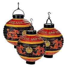 Three Light Up LED Battery Powered Red Chinese New Year Paper Lanterns
