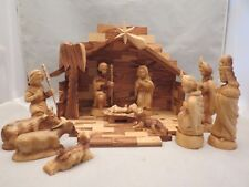 Homemade Hand Carved 12 PC. Wood Wooden Nativity Set Manger Christmas Creche