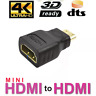 Mini HDMI Male to Standard HDMI Female Adapter Gold Plated HDTV 4K 1080p 3D