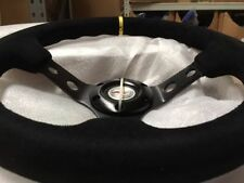 999- SUEDE LEATHER deep dish racing steering wheel 350MM UNIVERSAL FITS