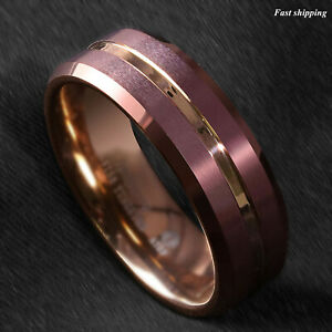 8/6mm Brushed Brown Tungsten Mens Ring Rose Gold Groove Stripe ATOP Wedding Band