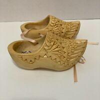 Small Souvenir Wooden Shoes Holland Dutch Clogs Carved Vintage 14cm