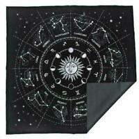 The Zodiac Tarot Cloth Decor Divination Cards Velveteen Square Tapestry Black**