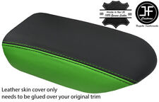 BLACK & GREEN TOP GRAIN REAL LEATHER ARMREST COVER FITS GT-R GTR R35 2009-17