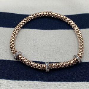 925 sterling silver rose gold sparkle ring stretchy bracelet marked M J London