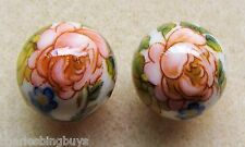 2 Japanese Tensha Beads FLOWER on IVORY COLORED ROUND Beads 14mm