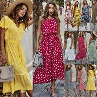Womens Boho Floral Sleeveless Lady Summer Beach Loose Midi Long Dress Long Top