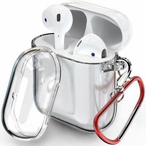 Clear Cover W/ Belt Loop Earbud Holder Charging Case Skin For Apple Airpods