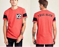 True Religion Men's Elongated Patch Ringer Logo Tee Shirt/Top - MD017N018