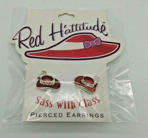 """""""RED HAT EARRINGS"""" PIERCED EARRINGS GOLDTONE TRIM RED EPOXY H'ATTITUDE"""