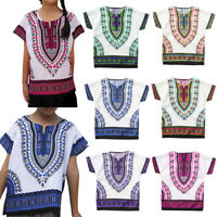 Boy Girl Kids Baby Unisex Bright African Colour Child Dashiki T Shirt Tee Top US