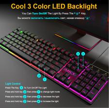 Gaming Keyboard RGB Backlit Keyboard With Silent Gaming Mouse Set Keyboard