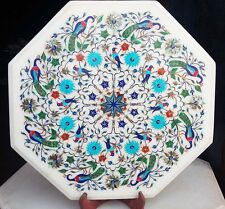 """12"""" Marble Side End Corner Table Top  Floral Semi Precious Stones Inlay Work"""