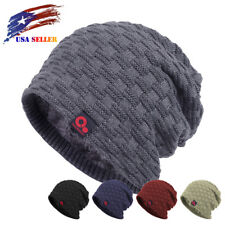 Winter Baggy Loose Waffle Beanie Slouch Knit Hat Fleece Lined Stocking Skull Cap