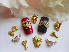 3D Nail Art *Gold Mix* Rhinestones Skull Ring Bow Butterfly Key Metallic Tip Gem