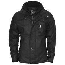 Mens Crosshatch Jacket Full Zip Double Layer Padded Button Winter Warm Coat