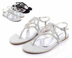Silver Color Casual Slingback Rhinestone Dress Women Sandals Flat Shoes Size 5.5