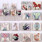 Animals Print Linen Cotton Waist Cushion Cover Throw Pillow Case Home Sofa Decor