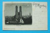 Bayern Mondschein AK Gruss aus München 1898 OBB Frauenkirche Türme Architektur(1