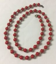 """Vintage Necklace Red Gold Tone Beads Beaded on Chain Fastener 12"""" Drop"""