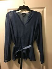 NEW Pantology Women's Blue Lace Top with Matching Shell Tank and Ribbon L Large