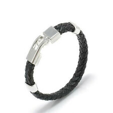 Stainless Steel Men Jewelry Knitted Bracelet Leather Bangles Magnetic Clasp