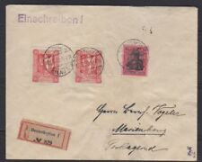 Marienwerder 80pfg wide spacing red proof on registered cover,  Michel 19P1