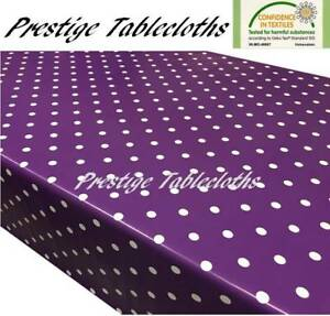 Purple Polka Dot Spots PVC Vinyl Wipe Clean Tablecloth Oilcloth ALL SIZES