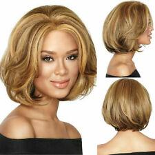 Stylish Ladies Short Wigs Golden Brown Straight Wavy Full Hair Bob Cosplay Wig