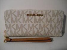 MICHAEL KORS LEATHER+PVC JET SET TRAVEL CONTINENTAL WALLET WRISTLET MANY COLORS