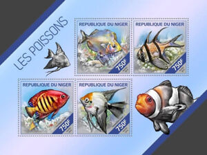 Niger - 2014 Tropical Ocean Fishes 4 Stamp Sheet 14A-462